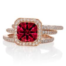 Ruby Wedding Rings by 2 50 Carat Perfect Princess Cut Ruby And Diamond Trio Halo Wedding