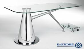 computer desk glass metal glass and metal computer desk contemporary pertaining to 16