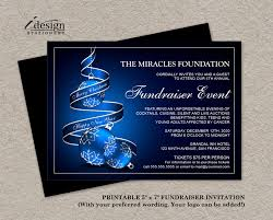 diy printable holiday fundraiser invitations with blue christmas