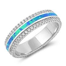 promise rings com images 5mm sterling silver blue lab opal promise ring with cz jpg