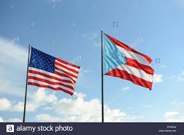 Us Flag 1860 Puertorican And American Flag Waving Against Bright Sky Arroyo