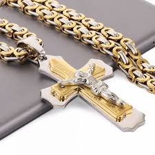 stainless steel link necklace images Multilayer cross christ jesus pendant necklace stainless steel jpeg