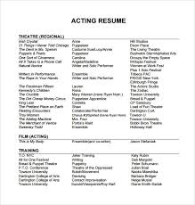 Beginner Acting Resume Template Download Acting Resume Template Word Creative Design Theater Child