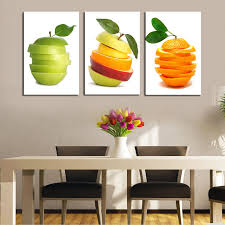 Painting For Kitchen | unframed 3pcs modern canvas art fruit oil painting for kitchen