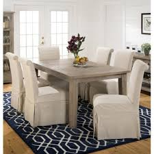 slater mill pine 7 piece dining set with slipcover skirted parson