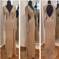 dress gold sequins prom glitter beautiful long tight slit