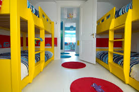 Built In Bunk Beds Bright Yellow Built In Bunk Beds With Blue Striped Bedding Sets