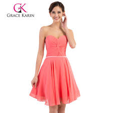 grace karin strapless chiffon simple short watermelon pink prom