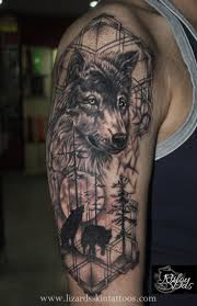black and grey wolf on right half sleeve