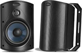 Noise Cancelling Backyard Speakers Polk Audio Atrium4 Black All Weather Indoor Outdoor Speakers At