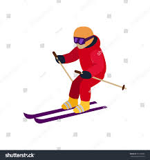 people skiing flat style design skis stock vector 372108082