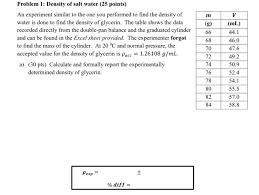 density of table salt solved problem 1 density of salt water 25 points an ex