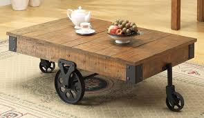 Industrial Rustic Coffee Table Great Rustic Coffee Tables With Wheels Rustic Wheeled Wooden