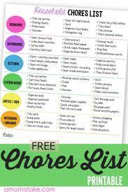 Responsibility Worksheet Printable Household Chores List Free Printable Worksheets
