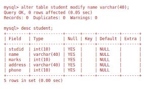 alter table modify column modify column