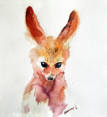 Color Painting by Fennec Fox Watercolor Painting Original Water Colour Picture
