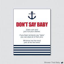 nautical don u0027t say baby baby shower game printable