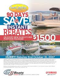90 days to save rebates suncatcher pontoons by g3 boats