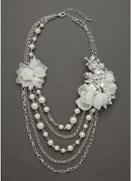 pearl necklace accessories images Fabric flower pearl necklace david 39 s bridal