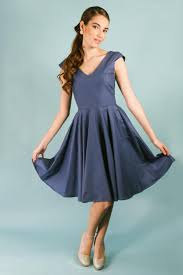 navy cotton v neck cap sleeve knee length fit and flare dress with