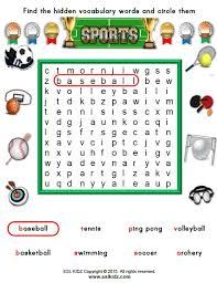 sports activities games and worksheets for kids