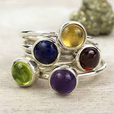 gem stone rings images Vibrant sterling silver gemstone stacking ring by alison moore jpg