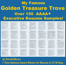 Worlds Best Resume by World U0027s Best Collection Of Executive Resume Samples By Donald Burns