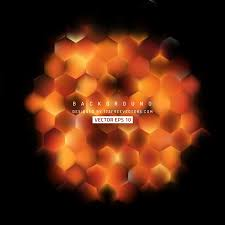 abstract black orange fire hexagon background template