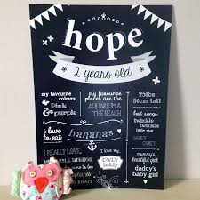 birthday chalkboard personalised kids birthday chalkboard print by anon design studio