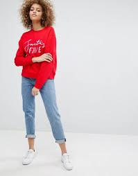 monki discount june monki santas fave christmas sweatshirt red