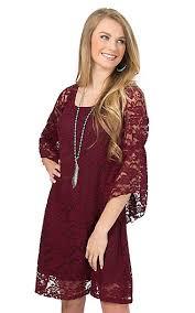 jody women u0027s burgundy lace 3 4 bell sleeve dress cavender u0027s