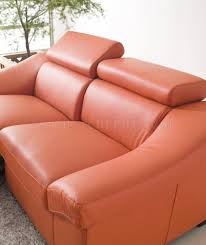 Orange Leather Chair Reclining Sofa In Orange Full Leather By Esf W Options