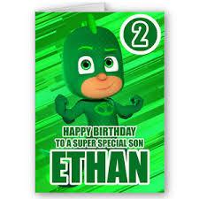 personalised pj masks gekko childrens birthday card age