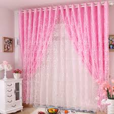 Sheer Pink Curtains Princess Real Finished Products Rustic Pink Flock Printing