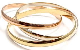 bracelet cartier ebay images Authentic cartier 18k tri color gold wide 6mm trinity rolling jpg