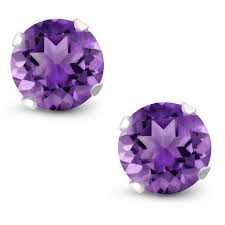 purple stud earrings february birthstone purple amethyst stud earrings 6mm 1 50 cttw in