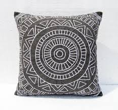 aztec pattern pillow cover charcoal colour geometrical