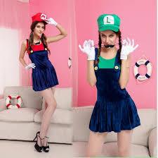 ladies super mario cosplay luigi brothers fancy dress mario