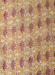 Block Print Wallpaper Block Print Lotus Maroon Cotton