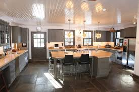 slate appliances with gray cabinets ge slate appliances kitchen farmhouse with basket counter stool