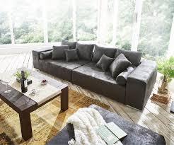 Wohnzimmer Antik Big Sofa Marbeya 285x115 Cm Anthrazit Antik Optik Hocker Möbel