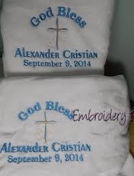 Christening Blanket Personalized Christening Towel Christening Blanket By Embroiderybysharon
