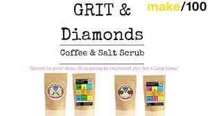 make100 grit u0026 diamonds coffee salt body scrub 100 natural by