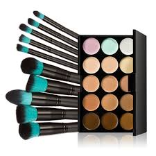amazon com tinksky 10 makeup brushes 15 colors concealer