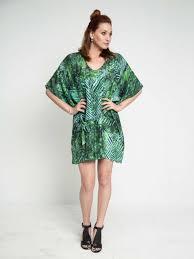 emerald green shibori tropical belted silk kaftan dress maati