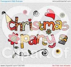clipart of colorful sketched christmas party word art royalty