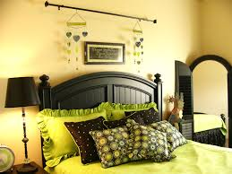 Black And Green Bedding Cream Bedroom Wall Theme With Black Wooden Bed And Green Bedding