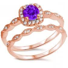 rose gold wedding set amethyst rose gold vintage wedding engagement ring round purple amethyst