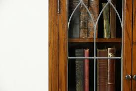 Narrow Oak Bookcase by Oak Display Cabinets With Glass Doors
