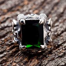 gothic rings silver images Green emerald claw gothic ring jpg
